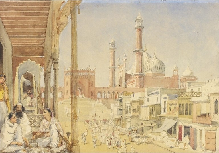 Jama_Masjid,_Delhi,_watercolour,_1852